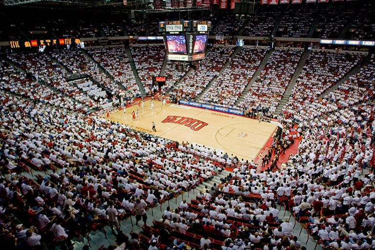 Inside the Thomas and Mack Center during a basketball game