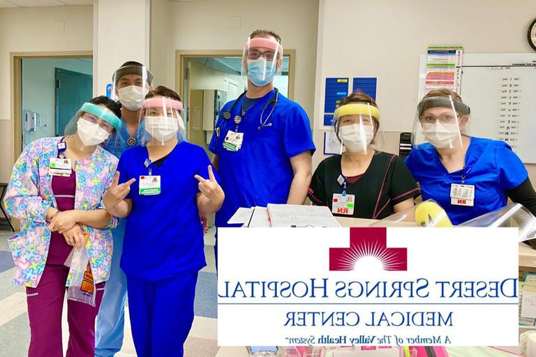 Six healthcare professionals from Desert Springs Hospital wearing the face shields Jay Tan created